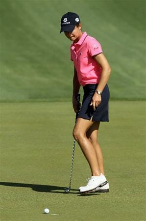 RANCHO MIRAGE, CA - APRIL 04:  Lorena Ochoa of Mexico reacts after missing a birdie putt attempt on the second hole during the final round of the Kraft Nabisco Championship at Mission Hills Country Club on April 4, 2010 in Rancho Mirage, California.  (Photo by Stephen Dunn/Getty Images)