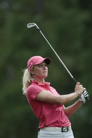 MOBILE, AL - MAY 15:  Suzann Pettersen of Norway watches her tee shot on the 17th hole during third round play in the Bell Micro LPGA Classic at the Magnolia Grove Golf Course on May 15, 2010 in Mobile, Alabama.  (Photo by Dave Martin/Getty Images)