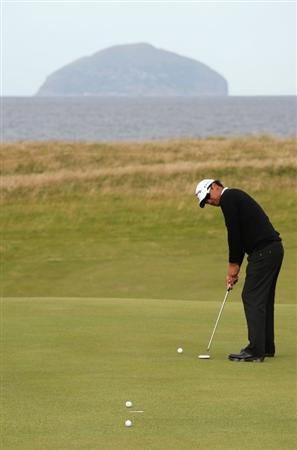 TURNBERRY, SCOTLAND - JULY 14:   Michael Campbell of New Zealand hits putts during a practice round prior to the 138th Open Championship on the Ailsa Course, Turnberry Golf Club on July 14, 2009 in Turnberry, Scotland.  (Photo by Ross Kinnaird/Getty Images)
