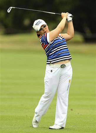 MELBOURNE, AUSTRALIA - FEBRUARY 03:  Jiyai Shin of South Korea plays a shot during day one of the Women's Australian Open at The Commonwealth Golf Club on February 3, 2011 in Melbourne, Australia.  (Photo by Lucas Dawson/Getty Images)