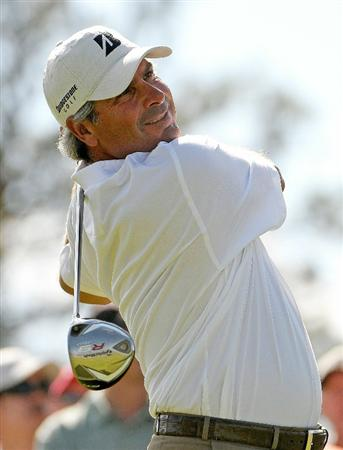PARKER, CO - MAY 28: Fred Couples tees off the 9th hole during the second round of the Senior PGA Championship at the Colorado Golf Club on May 28, 2010 in Parker, Colorado.  (Photo by Marc Feldman/Getty Images)