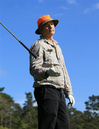 PEBBLE BEACH, CA - FEBRUARY 13:  Actor Bill Murray drops his club at the AT&T Pebble Beach National Pro-Am- Final Round at the Pebble Beach Golf Links on February 13, 2011 in Pebble Beach, California.  (Photo by Jed Jacobsohn/Getty Images)