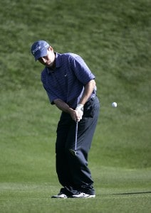 John Hutson chips up onto the green during the fiinal round of the Bob Hope Chrysler Classic held at The Classic Club in Palm Desert, California, Jan. 22, 2006.Photo by Sam Greenwood/WireImage.com