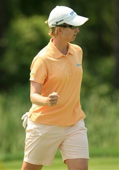 MT. PLEASANT, SC - MAY 31:  Karrie Webb of Australia celebrates a birdie on the seventh hole during the third round of the Ginn Tribute at RiverTowne Country Club on May 31, 2008 in Mt. Pleasant, South Carolina.  (Photo by Scott Halleran/Getty Images)