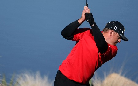 SCOTTSDALE, AZ - FEBRUARY 01:  J.B. Holmes hits his tee shot on the 18th hole during the second round of the FBR Open at the TPC Scottsdale on February 1, 2008 in Scottsdale, Arizona.  (Photo by Scott Halleran/Getty Images)