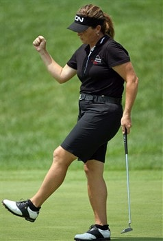 HAVRE DE GRACE, MD - JUNE 05:  Lorie Kane of Canada reacts to making a birdie on the 9th hole during the first round of the McDonald's LPGA Championship at Bulle Rock Golf Course on June 5, 2008 in Havre de Grace, Maryland.  (Photo by Andy Lyons/Getty Images)