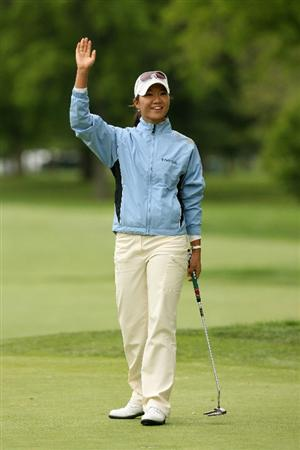 CLIFTON, NJ - MAY 17: Ji Young Oh of South Korea reacts after holing out on the 18th green to win the Sybase Classic presented by ShopRite at Upper Montclair Country Club May 17, 2009 in Clifton, New Jersey. (Photo by Hunter Martin/Getty Images)