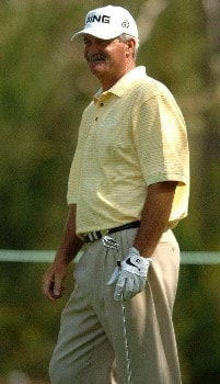 R.W. Eaks watches his tee off on the 14th hole during the second round of the Champions' Tour 2005 SBC Classic at  the Valencia Country Club in Valencia, California March 12, 2005.