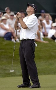 Tom Lehman misses an eagle putt on the 17th hole during the final round of The International on Sunday, August 13, 2006 at Castle Pines Golf Club in Castle Rock, ColoradoPhoto by Marc Feldman/WireImage.com