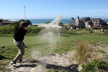 PEBBLE BEACH, CA - FEBRUARY 07: Joey Sindelar hits out of the rough during the first round of the AT&T Pebble Beach National Pro-Am at Poppy Hills Golf Links on February 7, 2008 in Pebble Beach, California. (Photo by Jed Jacobsohn/Getty Images)