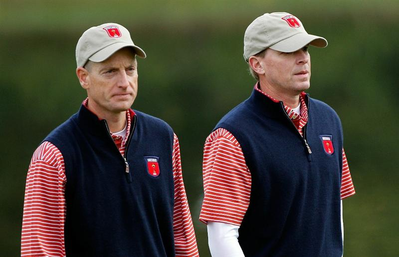 NEWPORT, WALES - SEPTEMBER 30:  Jim Furyk of the USA walks with Steve Stricker (R) during a practice round prior to the 2010 Ryder Cup at the Celtic Manor Resort on September 30, 2010 in Newport, Wales.  (Photo by Sam Greenwood/Getty Images)