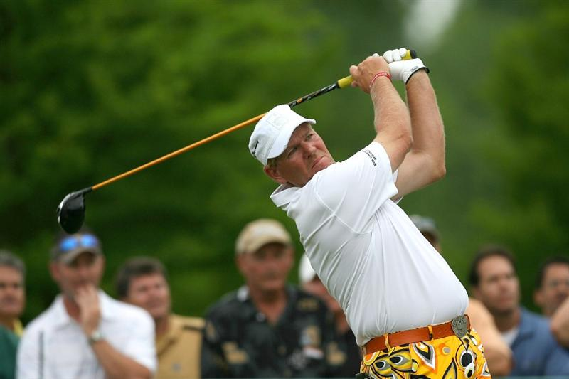 AVONDALE, LA - APRIL 23: John Daly tees off on the 13th hole during the second round of the Zurich Classic at TPC Louisiana on April 23, 2010 in Avondale, Louisiana.  (Photo by Chris Trotman/Getty Images)