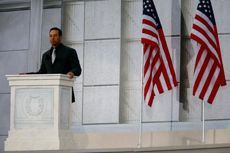 WASHINGTON - JANUARY 18:  Golfer Tiger Woods speaks on stage during the 'We Are One: The Obama Inaugural Celebration At The Lincoln Memorial' on January 18, 2009 at the National Mall in Washington, DC. The event includes a diverse array of talent featuring both musical performances and historical readings and an appearance by U.S. President-elect Barack Obama.  (Photo by Chip Somodevilla/Getty Images)