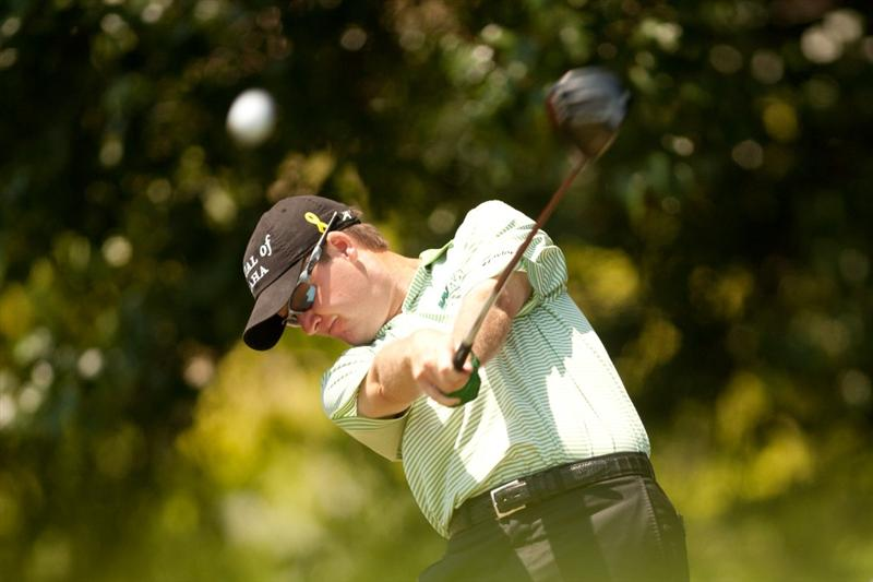 IRVING, TX - MAY 29: Joe Ogilvie plays a tee shot during the final round of the HP Byron Nelson Championship at TPC Four Seasons at Las Colinas on May 29, 2011 in Irving, Texas. (Photo by Darren Carroll/Getty Images)