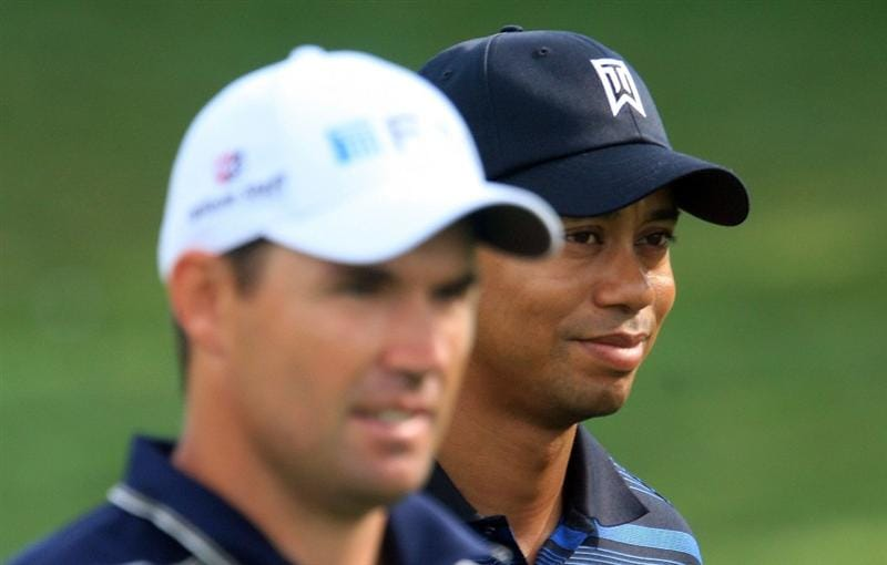 ORLANDO, FL - MARCH 27:  Padraig Harrington of Ireland and Tiger Woods walk off the 16th tee during the second round of the Arnold Palmer Invitational at the Bay Hill Club & Lodge on March 27, 2009 in Orlando, Florida.  (Photo by Scott Halleran/Getty Images)