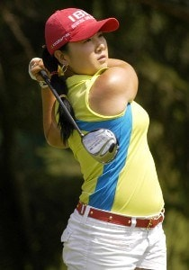 Jeong Jang follows her tee shot off the 17th hole during the third round of the Wegmans LPGA in Pittsford, New York, June 24, 2006.Photo by Kevin Rivoli/WireImage.com