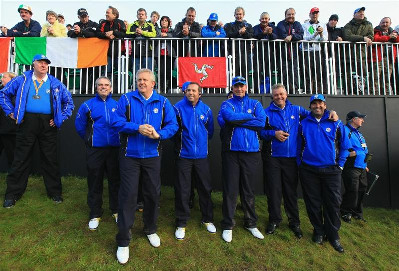 NEWPORT, WALES - OCTOBER 04:  The European Team Captains (L-R), Paul McGinley, Colin Montgomerie, Sergio Garcia, Thomas Bjorn, Darren Clarke and Jose Maria Olazabal wait on the first hole in the singles matches during the 2010 Ryder Cup at the Celtic Manor Resort on October 4, 2010 in Newport, Wales.  (Photo by David Cannon/Getty Images)