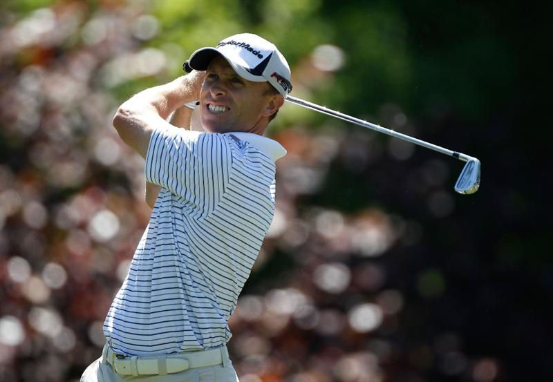 CHARLOTTE, NC - APRIL 29:  Tim Wilkinson of New Zealand watches his tee shot on the 13th hole during the first round of the 2010 Quail Hollow Championship at the Quail Hollow Club on April 29, 2010 in Charlotte, North Carolina.  (Photo by Scott Halleran/Getty Images)