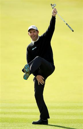 KINGSBARNS, SCOTLAND - OCTOBER 06: Padraig Harrington of Ireland celebrates after holing a putt on the first green during the practice round of The Alfred Dunhill Links Championship at Kingsbarns Golf Links on October 6, 2010 in St Andrews, Scotland.  (Photo by Warren Little/Getty Images)