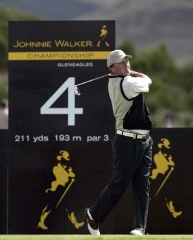 Damien McGrane on the 4th tee during the 2005 Johnnie Walker Championship's Final Round on August 7, 2005 in Gleneages, Scotland.Photo by Thomas Main/WireImage.com