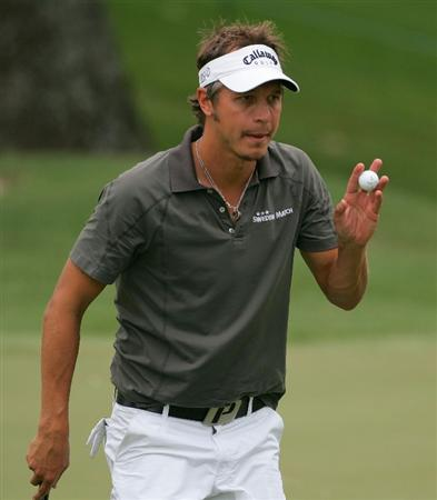 MEMPHIS, TN - JUNE 11:  Fredrik Jacobson of Sweden acknowledges the gallery during the first round of the St. Jude Classic at TPC Southwind held on June 11, 2009 in Memphis, Tennessee.  (Photo by Michael Cohen/Getty Images)