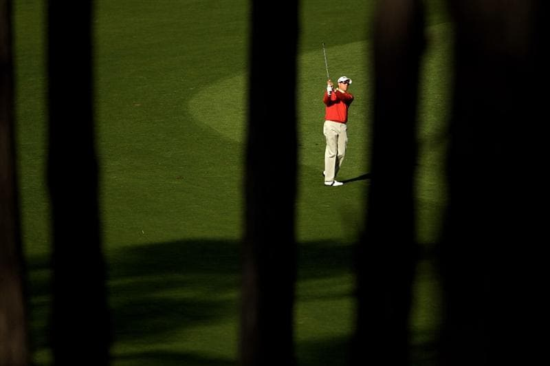PEBBLE BEACH, CA - FEBRUARY 11:  Nick O'Hern hits his approach shot on the 17th hole during the first round of the AT&T Pebble Beach National Pro-Am at at the Spyglass Hill Golf Course on February 11, 2010 in Pebble Beach, California.  (Photo by Ezra Shaw/Getty Images)