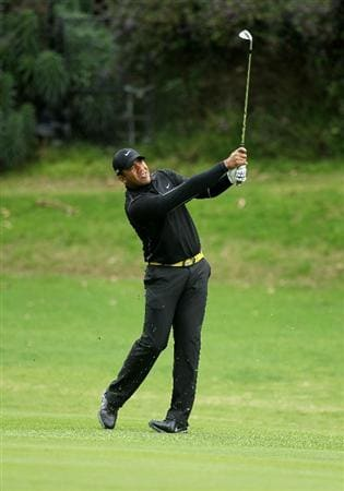 PACIFIC PALISADES, CA - FEBRUARY 18:  Jhonattan Vegas of Venezuela hits his second shot on the 12th hole during round two of the Northern Trust Open at Riviera Country Club on February 18, 2011 in Pacific Palisades, California.  (Photo by Stephen Dunn/Getty Images)