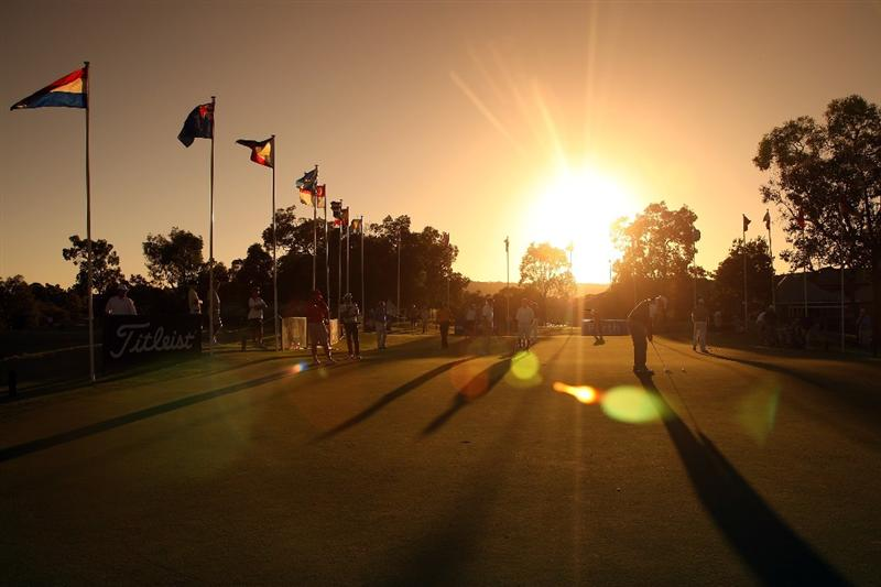 PERTH, AUSTRALIA - FEBRUARY 19: The sun rises over the putting green during the first round of the 2009 Johnnie Walker Classic tournament at the Vines Resort and Country Club, on 19 February 2009, in Perth, Australia  (Photo by David Cannon/Getty Images)