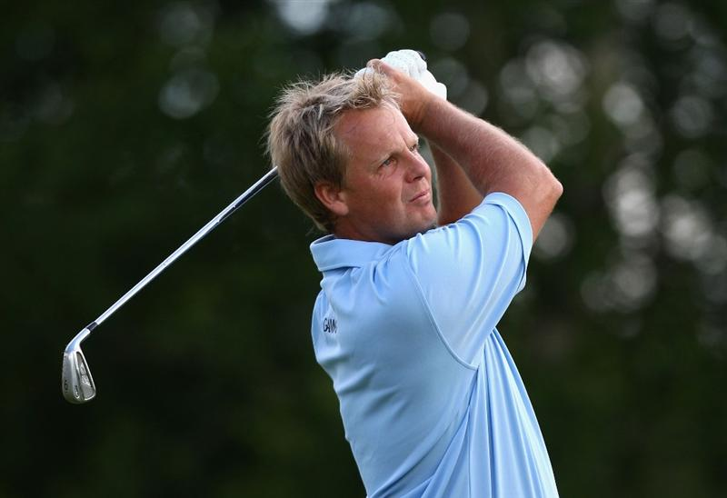 ST OMER, FRANCE - JUNE 18:  Klas Eriksson of Sweden plays an iron shot during Round One of the Open de St Omer at the AA St Omer Golf Club on June 18, 2009 in St Omer, France.  (Photo by Ryan Pierse/Getty Images)