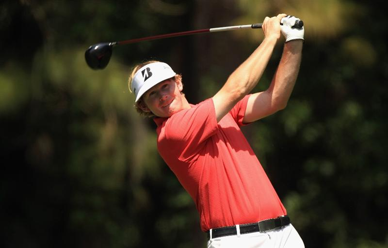 HILTON HEAD ISLAND, SC - APRIL 24:  Brandt Snedeker watches his tee shot during the final round of The Heritage at Harbour Town Golf Links on April 24, 2011 in Hilton Head Island, South Carolina.  (Photo by Streeter Lecka/Getty Images)