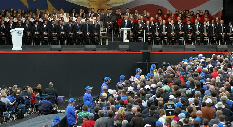 NEWPORT, WALES - SEPTEMBER 30:  General View as Europe Team Captain Colin Montgomerie speaks during the Opening Ceremony prior to the 2010 Ryder Cup at the Celtic Manor Resort on September 30, 2010 in Newport, Wales. (Photo by Jamie Squire/Getty Images)