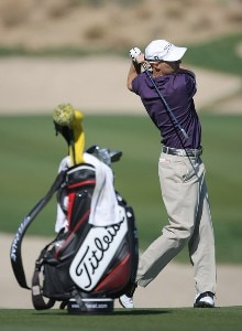 Ben Crane hits a second shot on the ninth hole during the fourth round of the 49th Bob Hope Chrysler Classic at the Silverrock Resort on January 19, 2008 in La Quinta, California. PGA TOUR - 2008 Bob Hope Chrysler Classic - Round FourPhoto by Harry How/Getty Images