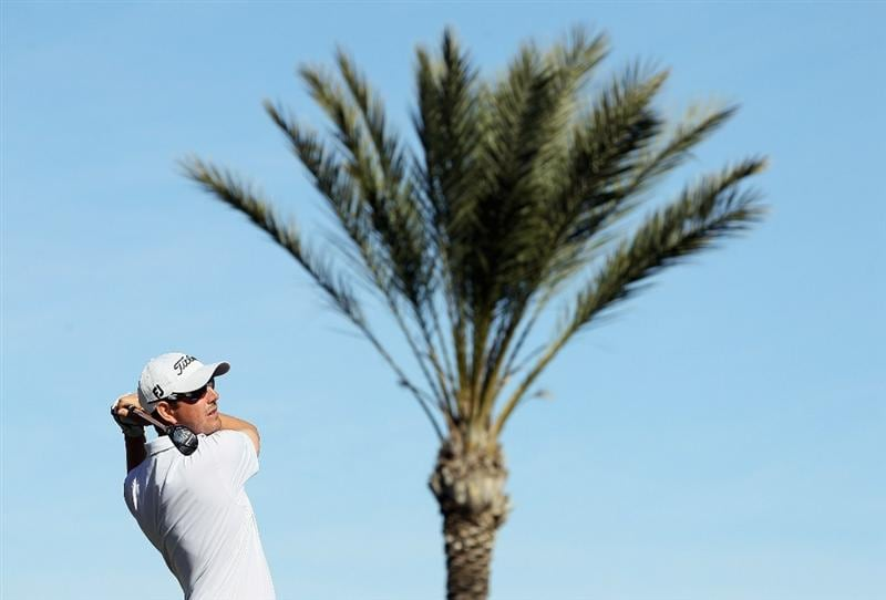 LA QUINTA, CA - JANUARY 20:  Matt McQuillan of Canada hits a tee shot on the sixth hole during the second round of the Bob Hope Classic at the Nicklaus Private course at PGA West on January 20, 2011 in La Quinta, California.  (Photo by Jeff Gross/Getty Images)