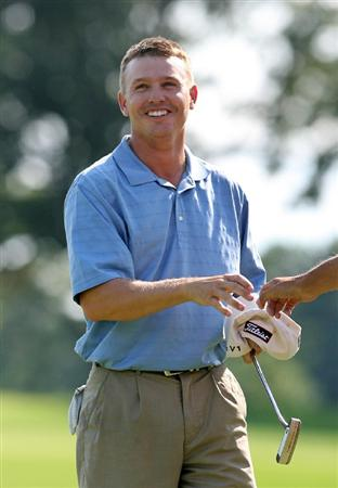 COLUMBUS, OH - AUGUST 02 : Derek Lamely reacts after winning the Nationwide Children's Hospital Invitational at The Ohio State Golf Club on August 2, 2009 in Columbus, Ohio. (Photo by Hunter Martin/Getty Images)