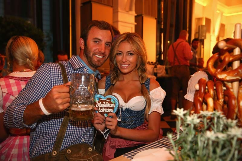 Dustin Johnson and Paulina Gretzky in traditional garb