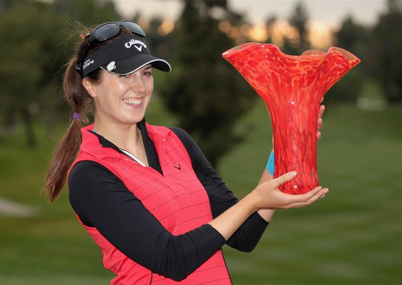 CITY OF INDUSTRY, CA - MARCH 27:  Sandra Gal of Germany poses with the trophy after winning the Kia Classic on March 27, 2011 at the Industry Hills Golf Club in the City of Industry, California.  (Photo by Scott Halleran/Getty Images)