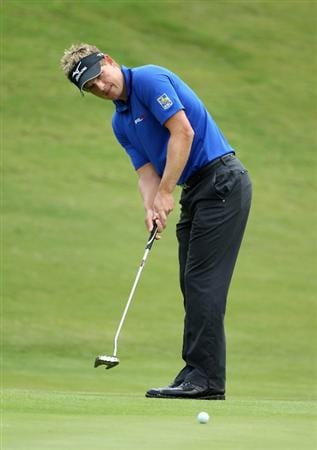 CASARES, SPAIN - MAY 19:  Luke Donald of England putts on the second green during the group stages of the Volvo World Match Play Championships at Finca Cortesin on May 19, 2011 in Casares, Spain.  (Photo by Warren Little/Getty Images)