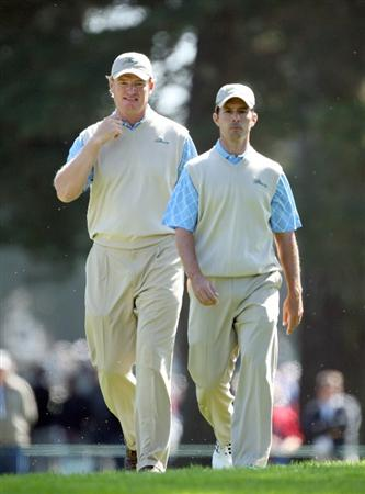 SAN FRANCISCO - OCTOBER 09:  Ernie Els of South Africa and the International Team with his partner Mike weir of Canada at the 5th hole during the Day Two Fourball Matches in The Presidents Cup at Harding Park Golf Course on October 9, 2009 in San Francisco, California  (Photo by David Cannon/Getty Images)