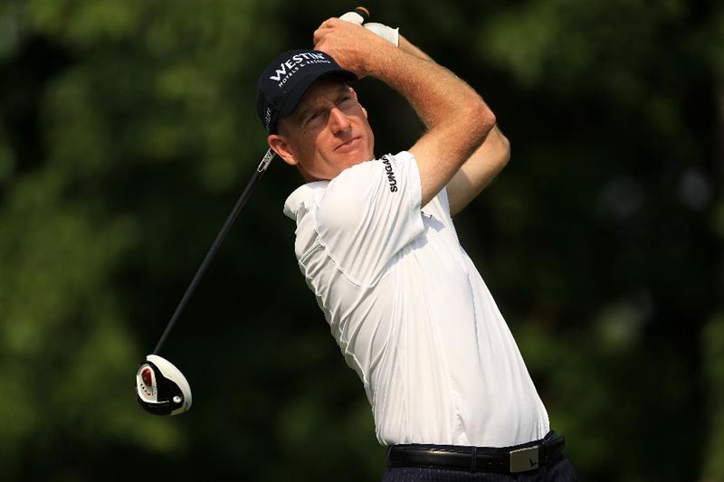 PONTE VEDRA BEACH, FL - MAY 13:  Jim Furyk hits a tee shot on the seventh hole during the second round of THE PLAYERS Championship held at THE PLAYERS Stadium course at TPC Sawgrass on May 13, 2011 in Ponte Vedra Beach, Florida.  (Photo by Streeter Lecka/Getty Images)