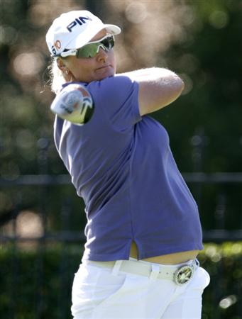 DANVILLE, CA - OCTOBER 9: Maria Hjorth of Sweden makes a tee shot on the 9th hole during the first round of the LPGA Longs Drugs Challenge at the Blackhawk Country Club October 9, 2008 in Danville, California. (Photo by Max Morse/Getty Images)