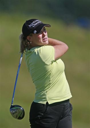 PRATTVILLE, AL - OCTOBER 3:  Christie Kerr tees off on the 18th hole during third round play in the Navistar LPGA Classic at the Robert Trent Jones Golf Trail at Capitol Hill on October 3, 2009 in  Prattville, Alabama.  (Photo by Dave Martin/Getty Images)
