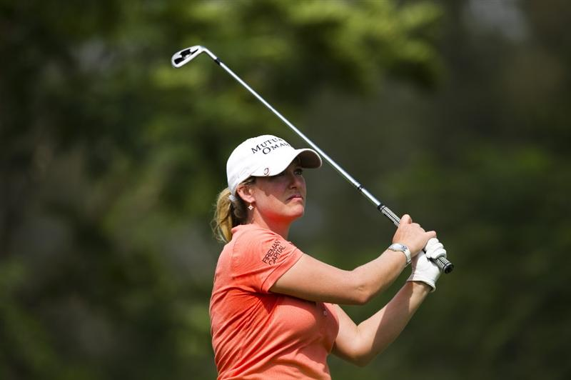 CHON BURI, THAILAND - FEBRUARY 21:  Cristie Kerr of USA tees off on the 12th tee during the final round of the Honda PTT LPGA Thailand at Siam Country Club on February 21, 2010 in Chon Buri, Thailand.  (Photo by Victor Fraile/Getty Images)