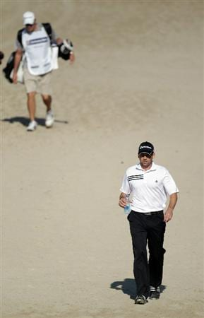 DUBAI, UNITED ARAB EMIRATES - FEBRUARY 12:  Sergio Garcia of Spain during the third round of the Omega Dubai Desert Classic on the Majlis course at the Emirates Golf Club on February 12, 2011 in Dubai, United Arab Emirates.  (Photo by Ross Kinnaird/Getty Images)