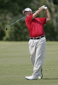 Patrick Sheehan hits his approach shot on the 7th hole during the third round of the Southern Farm Bureau Classic at Annandale Golf Club in Madison, Mississippi, on September 30, 2006. Photo by Hunter Martin/WireImage.com