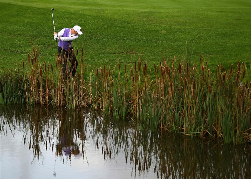 NEWPORT, WALES - OCTOBER 02:  Jim Furyk of the USA hits his 2nd shot on the 13th hole during the rescheduled Afternoon Foursome Matches during the 2010 Ryder Cup at the Celtic Manor Resort on October 2, 2010 in Newport, Wales.  (Photo by Richard Heathcote/Getty Images)
