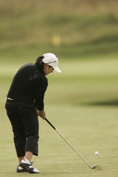 Jeong Jang watches her approach shot to the green during the final round of the 2005 Weetabix Women's British Open at the Royal Birkdale Golf Club. July 31, 2005Photo by Pete Fontaine/WireImage.com