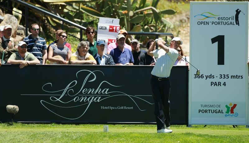 ESTORIL, PORTUGAL - JUNE 13:  Richard Green of Australia tees off on the first hole during the final round of the Estoril Open de Portugal at Penha Longa Hotel Spa and Golf Club on June 13, 2010 in Estoril, Portugal.  (Photo by Warren Little/Getty Images)