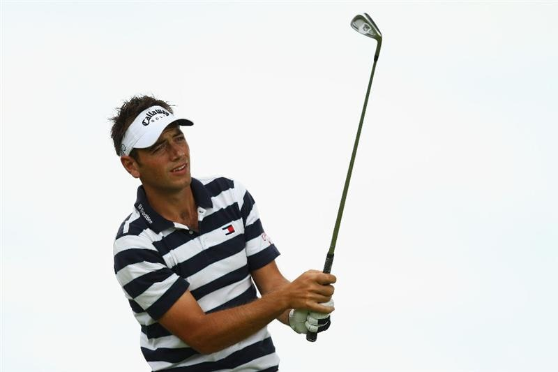 LUSS, SCOTLAND - JULY 09:  Nick Dougherty of England tees off on the 8th hole during the First Round of The Barclays Scottish Open at Loch Lomond Golf Club on July 09, 2009 in Luss, Scotland.  (Photo by Richard Heathcote/Getty Images)