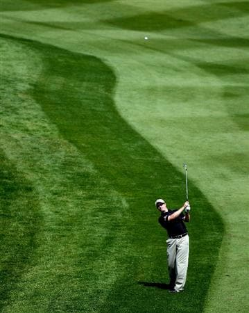 NEWPORT, WALES - JUNE 03:  Richard McEvoy of England on the par five 18th hole during the first round of the Celtic Manor Wales Open on the 2010 Course at the Celtic Manor Resort on June 3, 2010 in Newport, Wales.  (Photo by Ross Kinnaird/Getty Images)