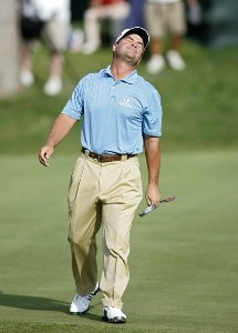 Jay Williamson reacts to missing his birdie putt on the 17th hole during the fourth round of the Travelers Championship at TPC at River Highlands in Cromwell, Connecticut on June 24, 2007. PGA TOUR - 2007 Travelers Championship - Final RoundPhoto by Michael Cohen/WireImage.com